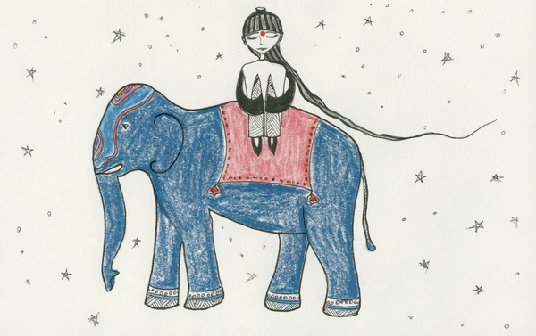 girl riding indian elephant